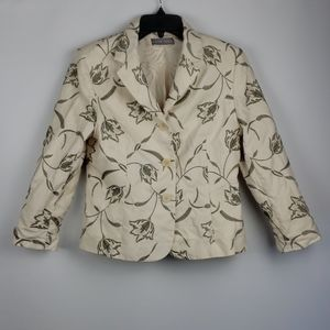 Kate Hill Cream Embroidered Jacket size 8